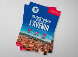 brochure projet urbain de la ville de Saint-Etienne, mise en page et graphisme, recherche d'images.
